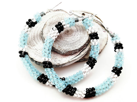 Baby Blue Black White Beaded Hoop Earrings