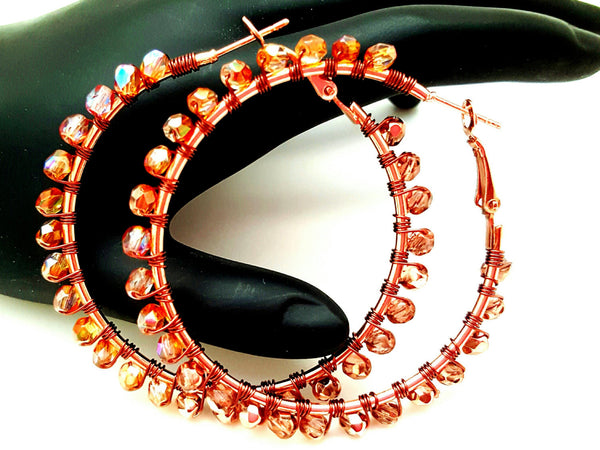 Coppen Bronze Beaded Hoop Earrings - ChristalDreamZ