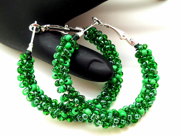Green Bohemian Beaded Earrings - ChristalDreamZ