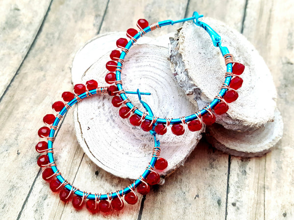 Red Teal Beaded Hoop Earrings