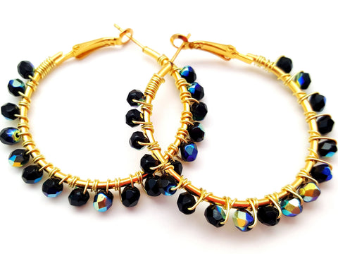 Black Rainbow Beaded Hoop Earrings - ChristalDreamZ