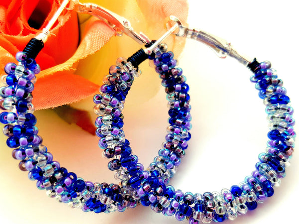 Blue Purple Bead Hoop Earrings - ChristalDreamZ