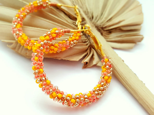 Golden Peach Beaded Hoop Earrings - ChristalDreamZ