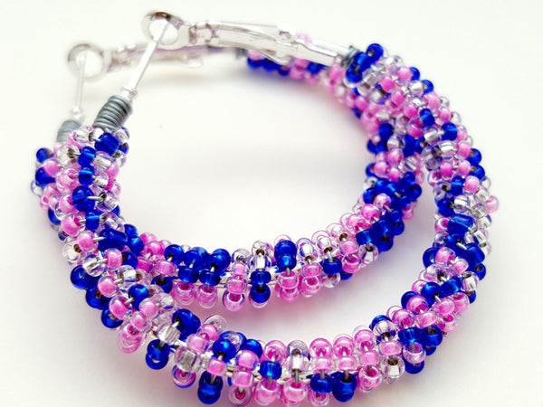 Pink Blue Seed Bead Hoop Earrings - ChristalDreamZ