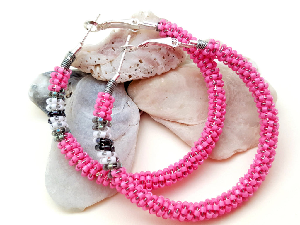 Pink Gray Beaded Hoop Earrings - ChristalDreamZ