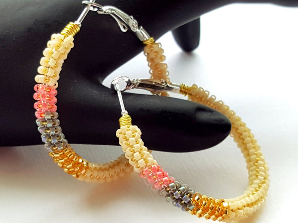 Cream Pastel Mix Beaded Hoop Earrings - ChristalDreamZ