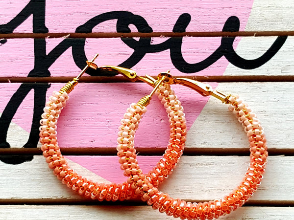 Peach Ombre Beaded Hoop Earrings - ChristalDreamZ