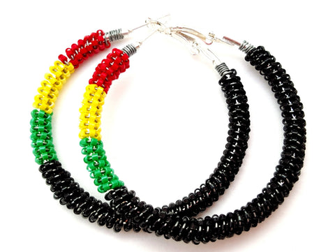 African Inspired Large Hoop Earrings - ChristalDreamZ