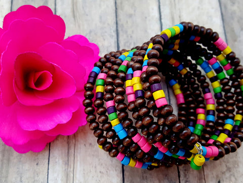 Rainbow Chunky Bead Cuff Bracelet - ChristalDreamZ