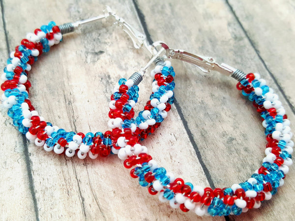 Red White Blue Beaded Hoop Earrings - ChristalDreamZ