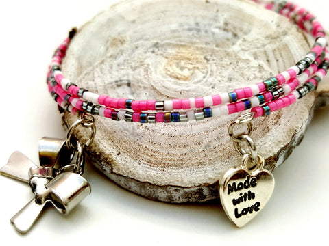 Pink Gray Memory Wire Beaded Bracelet - ChristalDreamZ