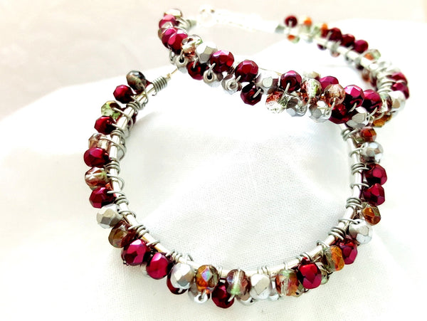Burgundy Silver Beaded Hoop Earrings