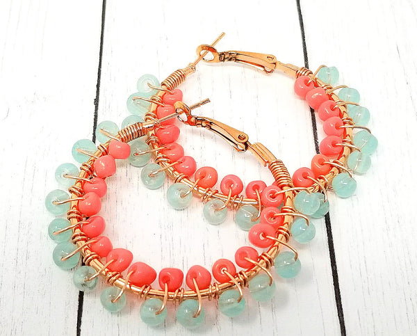 Mint Green and Coral Boho Hoop Earrings - ChristalDreamZ