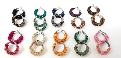 "Colorful 1"" (in) Small Beaded Hoop Earring Sets (2 pr) - ChristalDreamZ"