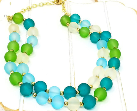 Blue Green Beach Inspired Chunky Bead Bib Necklace