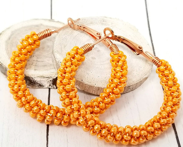 Tangerine Orange Beaded Hoop Earrings - ChristalDreamZ