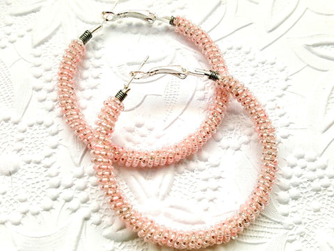 Pastel Pink Beaded Hoop Earrings - ChristalDreamZ