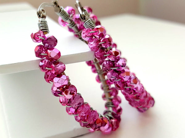 Bubblegum Pink Wire Wrapped Beaded Oval Hoop Earrings