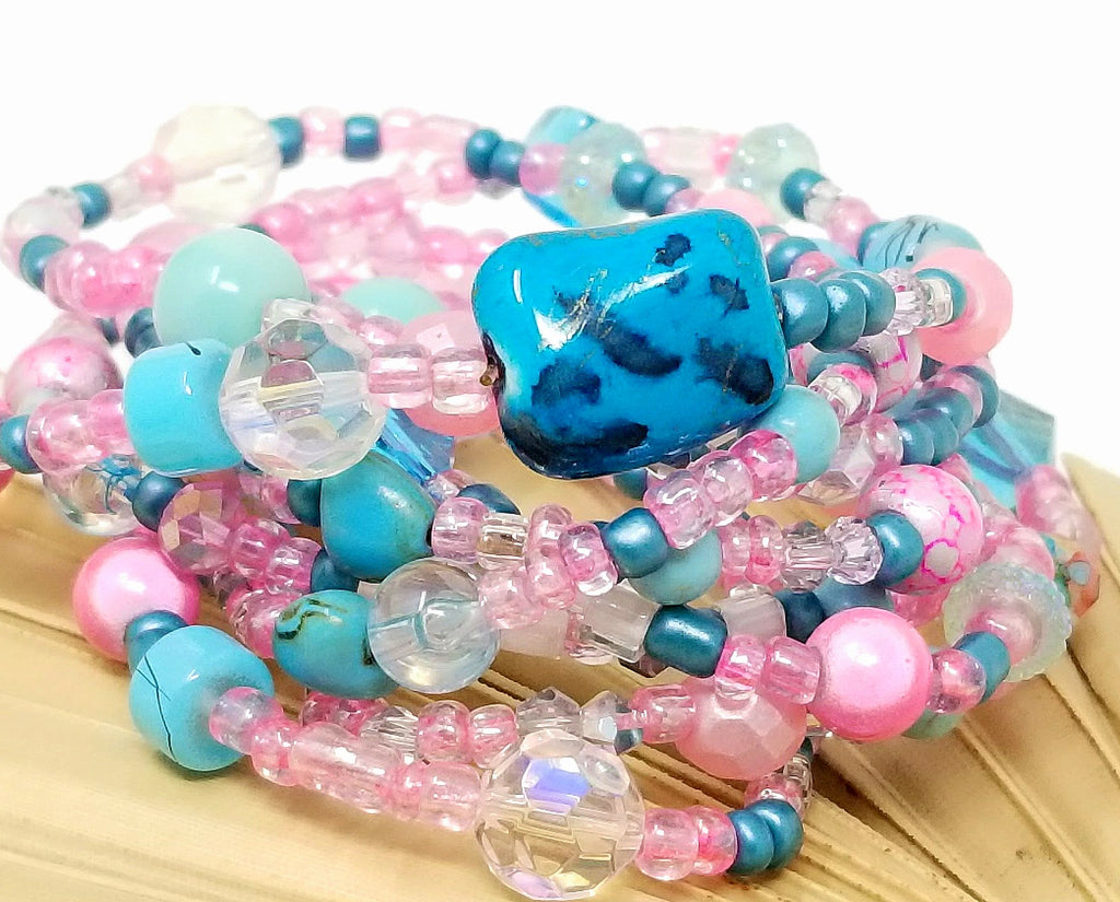 Turquoise Pink Seed Bead Wrap Bracelet/Necklace Summer Combination - ChristalDreamZ