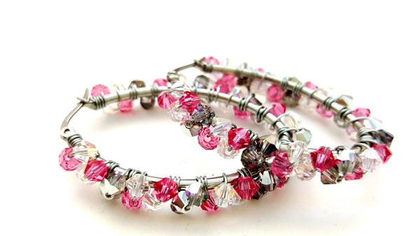 Pink and Silver Wire Wrapped Beaded Oval Hoop Earrings