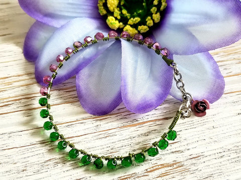 Pink and Green Beaded Bracelet - ChristalDreamZ