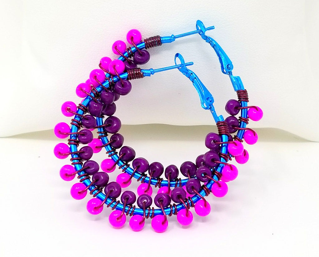 Hot Pink Purple Boho Hoop Earrings - ChristalDreamZ