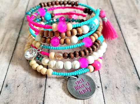 Pink & Turquoise Beaded Wrap Bracelet - ChristalDreamZ