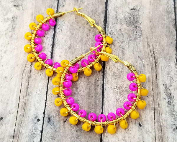 Yellow and Hot Pink Statement Earrings - ChristalDreamZ