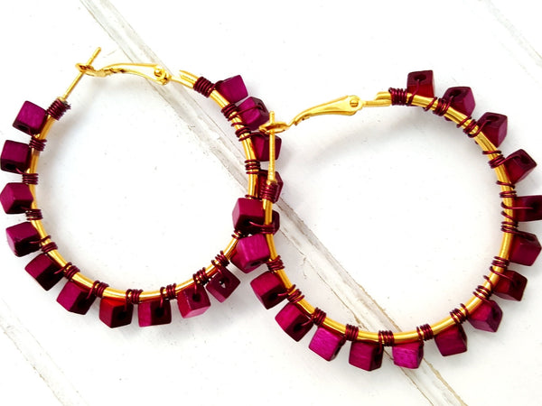 Purple Gold Wood Beaded Hoop Earrings - ChristalDreamZ