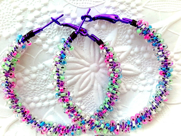 Purple Pastels Beaded Hoop Earrings