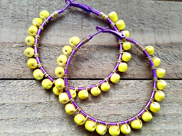 Yellow Purple Wood Beaded Hoop Earrings