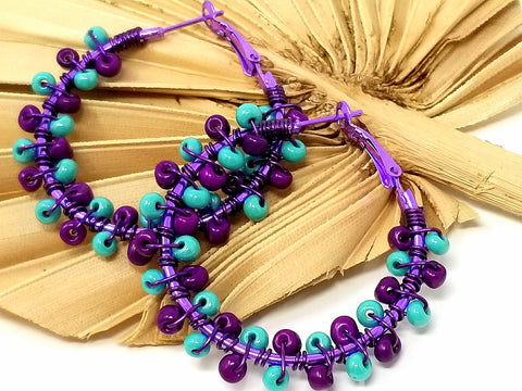 Purple Turquoise Beaded Hoops - ChristalDreamZ