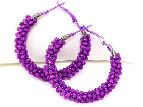 Purple Beaded Hoop Earrings - ChristalDreamZ