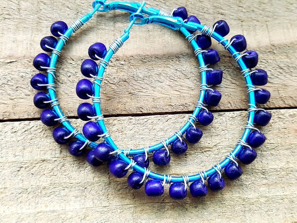 Purple Teal Wood Beaded Hoop Earrings