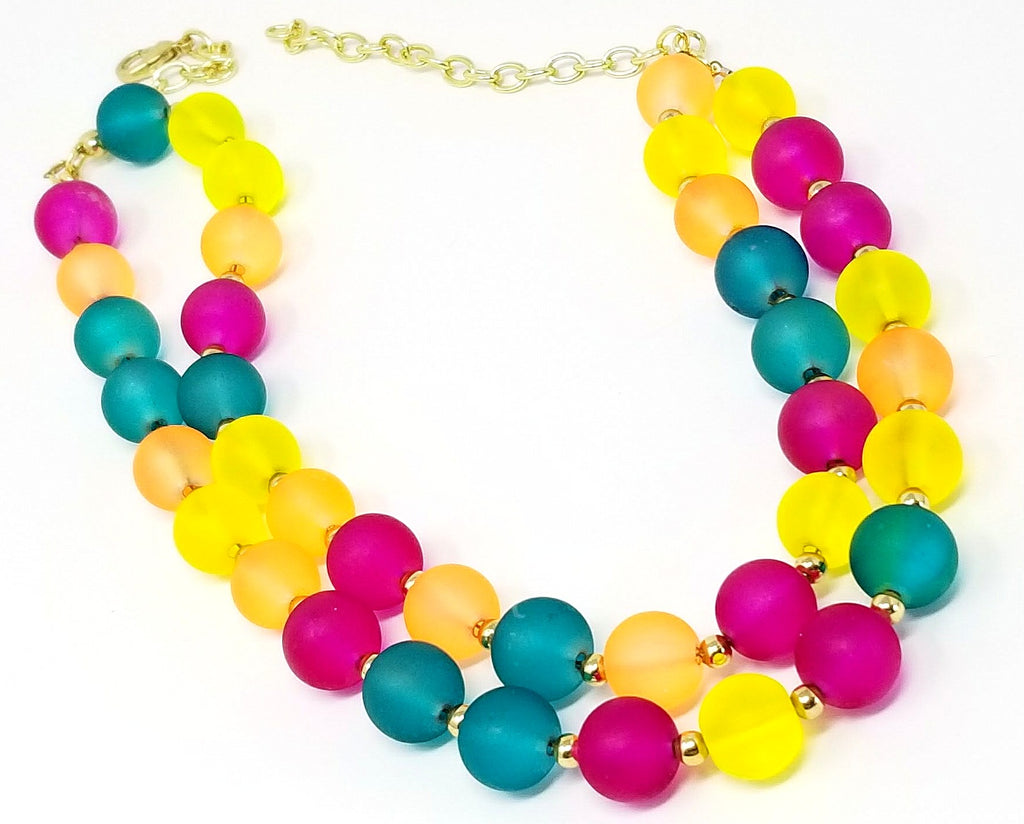 Chunky Rainbow Bohemian Gumdrop Statement Necklace - ChristalDreamZ