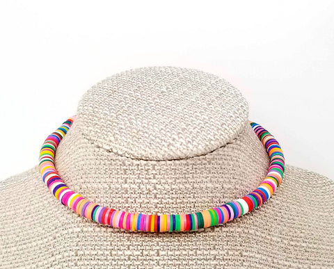 80's Inspired Rainbow Beaded Choker Necklace - ChristalDreamZ