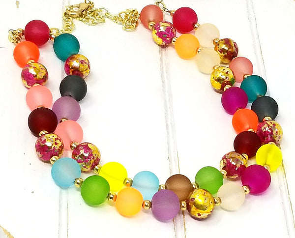 Multicolor Rainbow  Multi-Strand Beaded Statement Piece Necklace - ChristalDreamZ