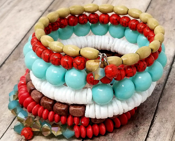 Mint Green Red Boho Memory Wire Beaded Cuff - ChristalDreamZ
