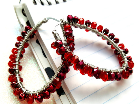 Cranberry Red Beaded Oval Hoop Earrings
