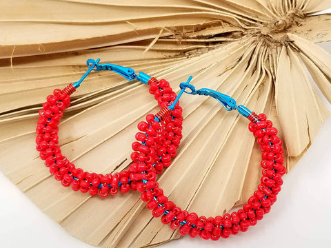 Red Teal Beaded Hoop Earrings - ChristalDreamZ