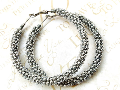 Silver Beaded Hoop Earrings - ChristalDreamZ
