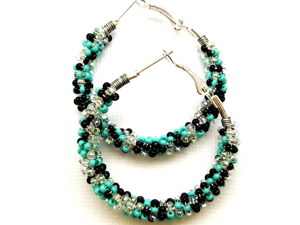 Turquoise Wire Wrapped Beaded Hoop Earrings - ChristalDreamZ