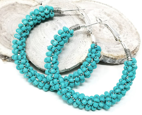 Turquoise Bead Hoop Earrings - ChristalDreamZ