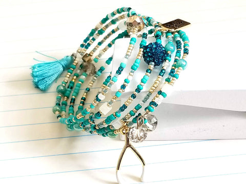 Turquoise Gold Beaded Wrap Bracelet - ChristalDreamZ