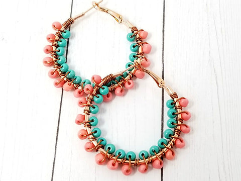 Coral Turquoise Beaded Hoop Earrings - ChristalDreamZ