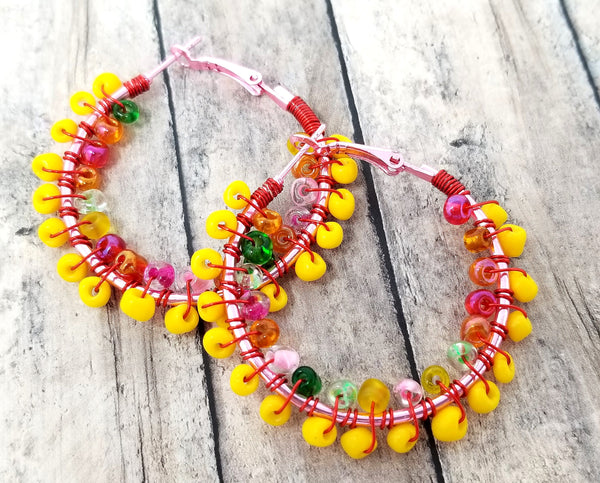 Yellow and Rainbow Beaded Hoop Earrings - ChristalDreamZ