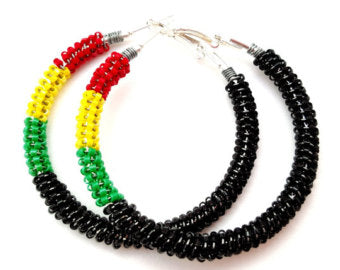African Handmade Beaded Hoop Earrings | Handmade Beaded Jewelry ChristalDreamz.com