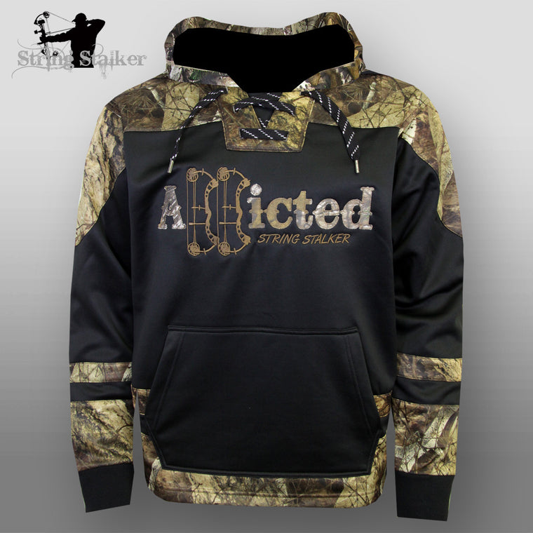 String Stalker Bow Hunting Camo Addicted Hockey Hoodie - String Stalker