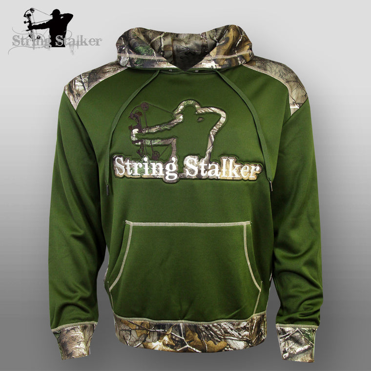 String Stalker Bow Hunting Camo Performance Hoodie - Green