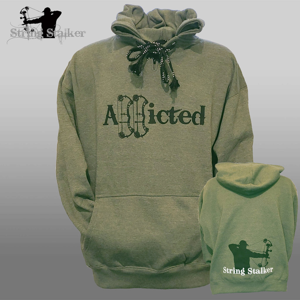 String Stalker Addicted Bow hunting Hoodie - Heather Green